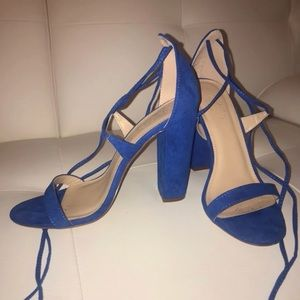Royal blue block lace up heels